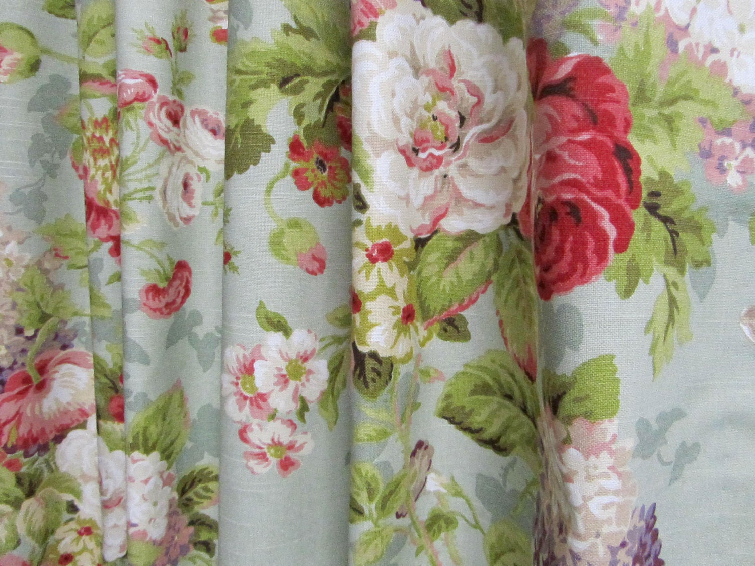 Shabby chic window curtains floral curtain panels cottage Shabby chic curtain window