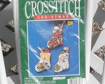 Christmas Traditions Counted Cross Stitch Stocking Kit by Bernat Vintage Set of Three