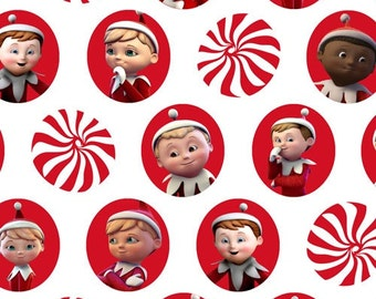 Christmas Fabric Elf on the Shelf Characters and Mints 1/2 Yard