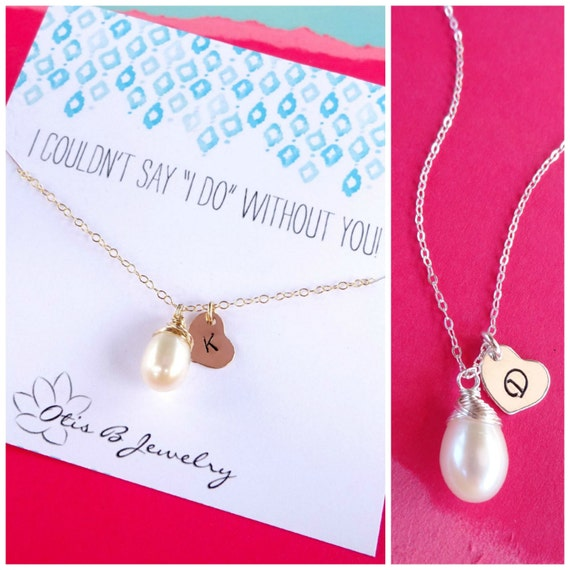 Personalized Bridesmaid gifts, Initial and pearl necklace, be my bridesmaid, bridesmaid jewelry, Bridal, wedding jewelry, freshwater pearls
