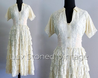 50s Vintage Cream Lace Ruffled Tiered Wedding Bridal Tea Length Prom Dress | XS - Small | hanger | 1054.7.30.15