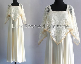 70s Vintage Lace Pleated Cape Bohemian Boho Hippie Wedding Bridal Beach Ethereal Maxi Prom Dress | XS - SM | H | 1061.8.1.15