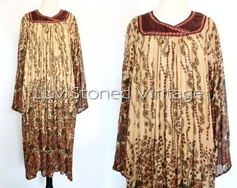 Vintage 70s Indian Ethnic Boho Hippie Cotton Gauze Metallic Lurex India Gypsy Festival Tent Midi Maxi Dress | ML | 1063.8.1.15