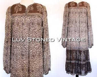 Vintage 70s Indian Ethnic Cotton Boho Hippie India Gypsy Festival Tent Midi Maxi Dress   XS - SM   1080.8.6.15