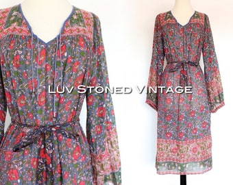 Vintage 70s Oh Calcutta India Tent Gauze Cotton Boho Hippie Indian Ethnic Festival Maxi Midi Dress with Belt   XS - SM   1097.8.28.15