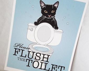 Black Cat Flush the Toilet Print - 8x10 Eco-friendly Size