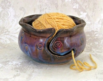 Yarn Bowl in Blue with Brown Tones