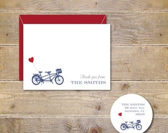 Bicycle Cards, Bicycle Stationery, Bicycle Stationary, Tandem Bike, Wedding Thank You Cards, Bridal Shower Thank You Cards, Heart