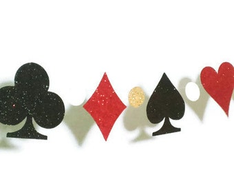 Playing Card Garland, Poker Night, Game Night, Casino Party, Alice in Wonderland, Card Suits