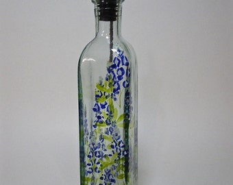 Olive Oil Bottle Texas Bluebonnets hand painted recycled glass