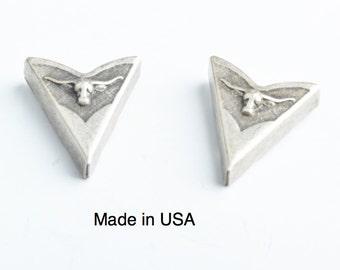 Collar Tip , Western Collar small Tip Long horn  , Antiqued Silver, 2 ea