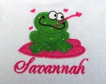 Custom Boutique Personalized Monogramed Name Frog Bib