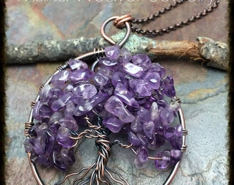 Wire Wrapped Tree of Life Pendant Necklace, Amethyst, Handmade, Antiqued Copper, Wire Tree Jewelry, February Birthstone