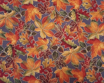 Cotton Fabric Fall Leaves on Gray Autumn Sparkle Chestnut Maple Oak Leaves Thanksgiving 1 Yard Excellent Fabric for Creative Genius Projects