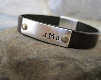 Personalized Black Leather Bracelet - Mens, Womens, Childrens Custom Bracelet