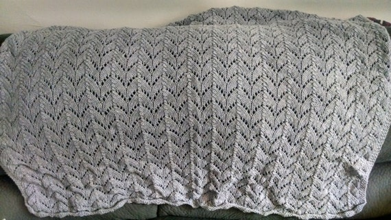 Sparkly Silver Gray Knit Horseshoe Lace Baby Blanket
