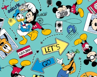 Mickey & Friends Lets Go Disney Cotton Woven fabricby the yard