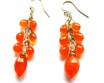 30% OFF SALE, Luxury Orange Carnelian Cluster Earrings, Gold Filled Earrings, Gift For Her, Ready To Ship