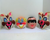 Vintage Lot 4 Halloween Masks Dime Store Zorro Crazy Rabbit Clown Plastic Molded Masks