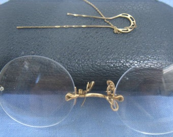 Antique Pinc Nez Glasses Vintage Reading Glasses w/ Case