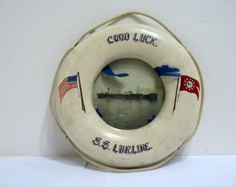 Vintage Wooden Life Preserver Folk Art S.S. Lurline Ship Matson Lines Good Luck 1920s Shipping Hawaii