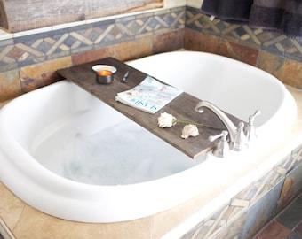 Lovely Reclaimed Wood Bath Shelf. Tray For Luxury Bath. Rustic Bath Tray. Recycled  Wood