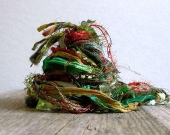 sherwood forest fringe effects™  art yarn bundle 21yds luxury fibers . sari silk ribbon merino wool emerald pine green rust copper gold