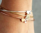 Initial Bangle Bracelet Double Charm - Letter Initial Gold Silver Rose Gold Custom Bridesmaid Gift Personalized Wedding Dainty Bracelet