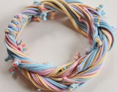T Shirt Scarf - Infinity Circle Scarves Recycled Cotton - Pastel Hand Dyed Light Blue Pink Orange Yellow Lavender Purple Rainbow