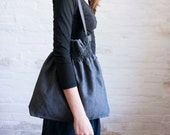 smocked linen bag (dark)