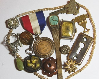 Small TRINKETS- Watch- Pearls- Keyhole- Keys- Badge- Assemblage Supply Lot- Found Objects