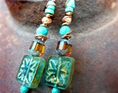 Antiqued Pressed Glass wire wrapped long turquoise earrings