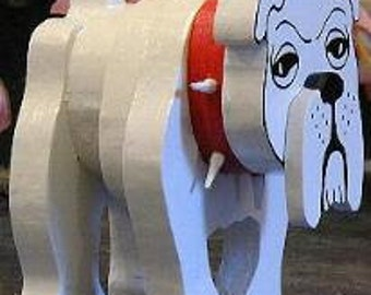 Bulldog White Layered Wooden Bulldog Bulldogs Made of Wood