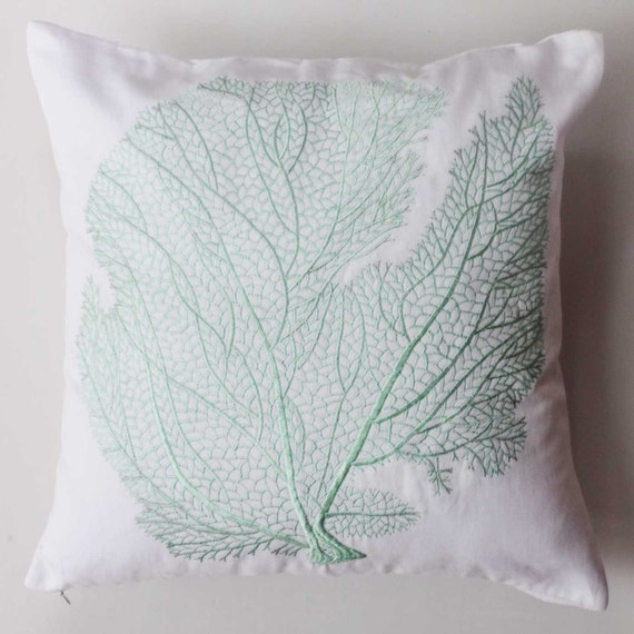 mint coral pillow . mint blue coral embroidery on white throw  pillow 18 inch. Deceretive coral fan  pillow cover. chose  of  your  colors
