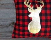 Buffalo Plaid Pillow, Lodge Decor, Deer Pillow, Gold Christmas, Holiday Decor, Gifts Under 25, Antler, Throw Pillow, Cushion, Metallic, Red