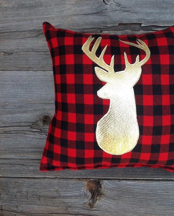 Buffalo Plaid Pillow Lodge Decor Deer Pillow Gold