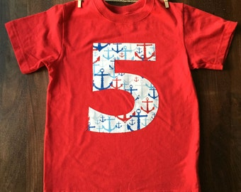 Red Navy Blue Anchor Boys Birthday Number Shirt - Custom Age 1, 2, 3, 4, 5, 6, 7, 8, , Sailing, Nautical, Water age