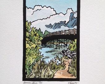 Sunriver Skies   -  Linocut Print    - Originals Only