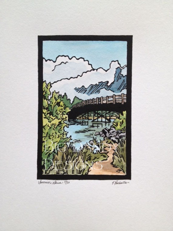 Sunriver Skies   -  Linocut Print    - Originals Only