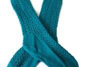 Socks - Hand Knit Women's Blue Topaz Lace Socks - Size 7-9