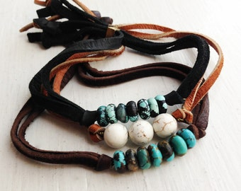 Leather Nugget Bracelet in Turquoise and White Howlite - Geologic Record Series