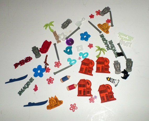 Assorted Plastic Embellishments - Flat Backs - Crafting Supply - Palm Trees - Halloween Haunted House - Scrapbooking Supply - Decorations