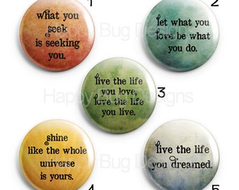 """Inspirational Sayings Quotes 1"""" Magnets for Magnetic Jewelry or use as Refrigerator Magnets"""