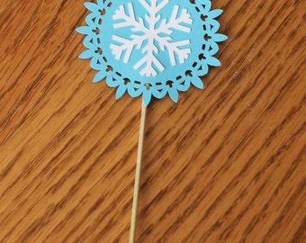 Snowflake Cupcake Picks -- Set of 12