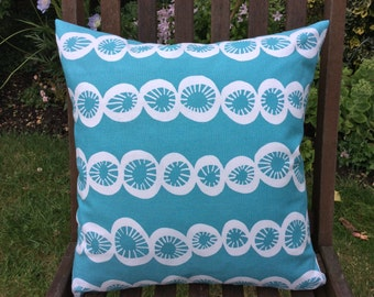 Teal Scandi Pillow Cover, Lotta Jansdotter fabric, Cushion Cover 16x16 inch or 40x40cm
