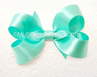 Robin's Egg Blue Hair Bow, 3 inch Satin Bow for Flower Girls, Bridesmaids, Weddings, Special Occasion, Satin Boutique Bow, Jewelry Box Blue