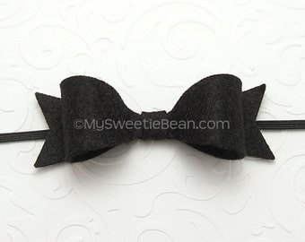 Black Felt Headband, Felt Bow Headband, Newborn Baby Headband 85 colors, Felt Headband for Toddlers, Ebony, Black
