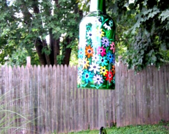 Wine Bottle Wind Chime, Recycled Green Wine Bottle, Hand Painted Bright Colorful Flowers, Garden Decoration