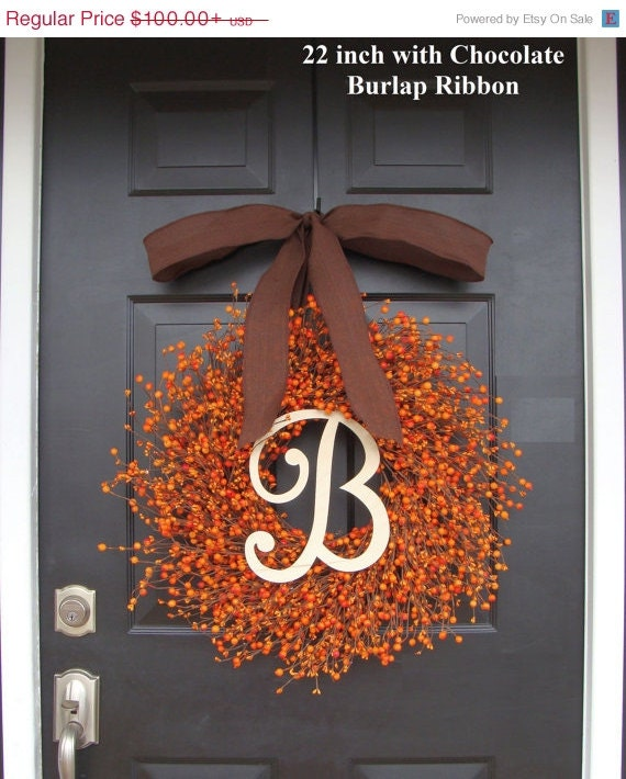 Wreath sale fall berry wreath thanksgiving decor berry fall wreath with burlap ribbon hostess - Thanksgiving decorations on sale ...
