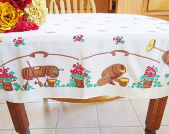 NOS Linen Country Tablecloth, Early American Tablecloth, Brown Tablecloth, 1960s Tablecloth